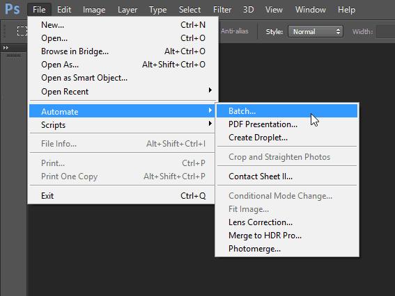 file automate batch Photoshop batch edit feature menu panel