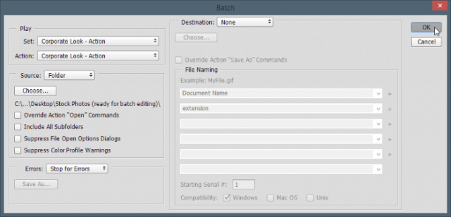 batch edit settings dialog box Photoshop configure