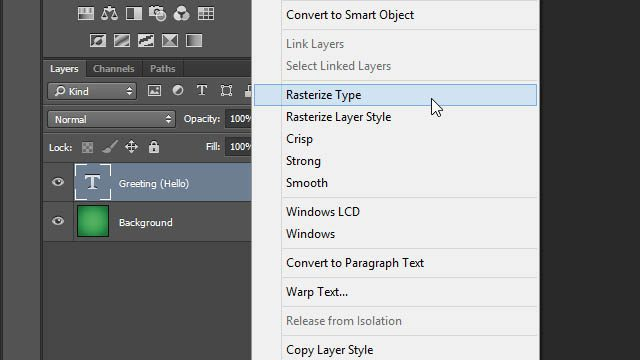 Cheat Photoshop Text Layer Transformations Trick rasterize type layer layers panel Photoshop raster layer