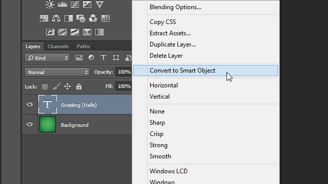 Cheat Photoshop Text Layer Transformations Trick layers panel layer convert to smart object smart layer Photoshop cheat