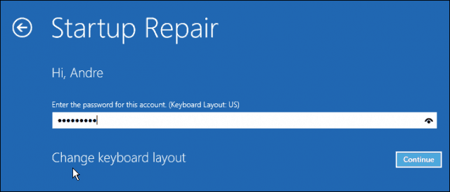startup repair password