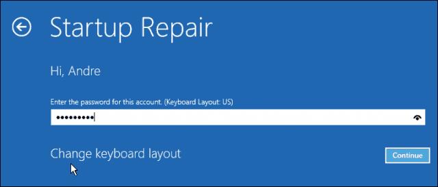 startup repair password