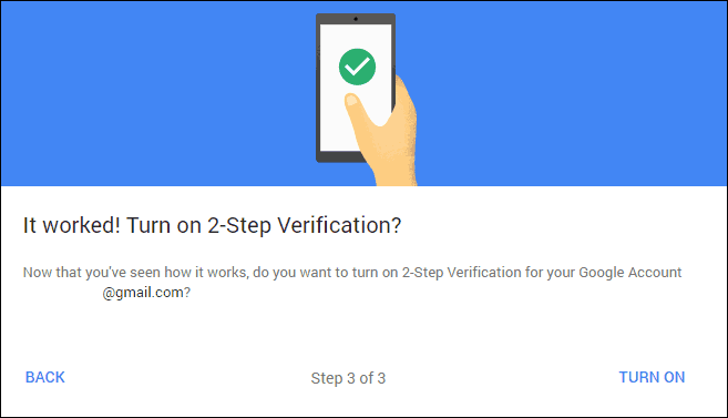 Google 2-step verification active