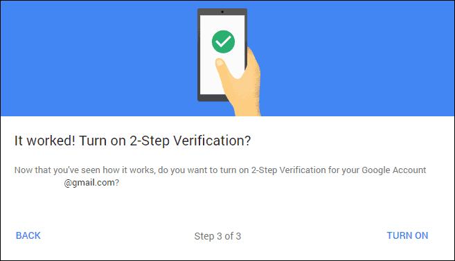 Google 2-step verification active