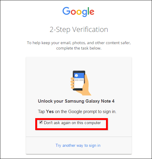 google 2 step verification