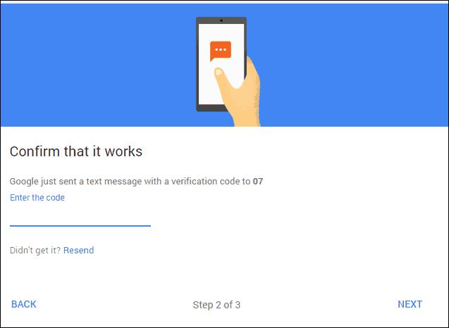 Google 2-step verification code