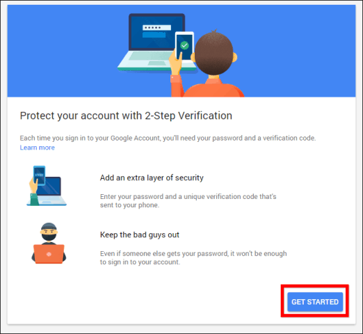Google 2-step verification get started
