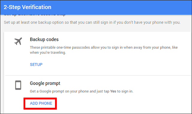 Google 2-step verification prompt