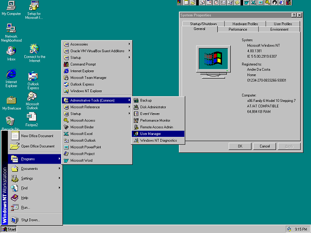 memory management in windows nt operating system