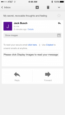 Criptext in ios gmail