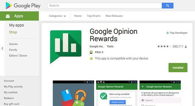 Play Page google play credit free apps store music tv shows movies comic books android opinion rewards surveys location