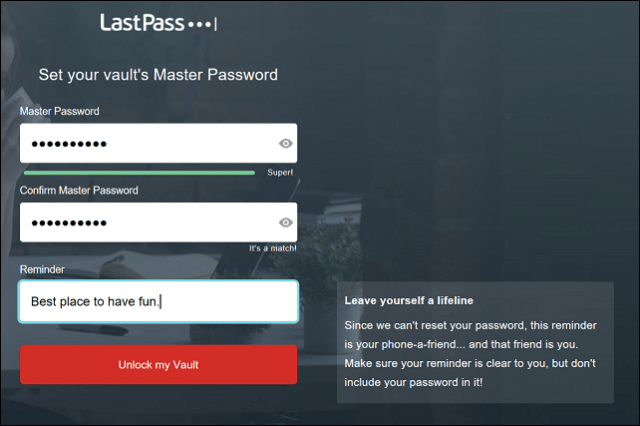Sign Up Lasspass 2