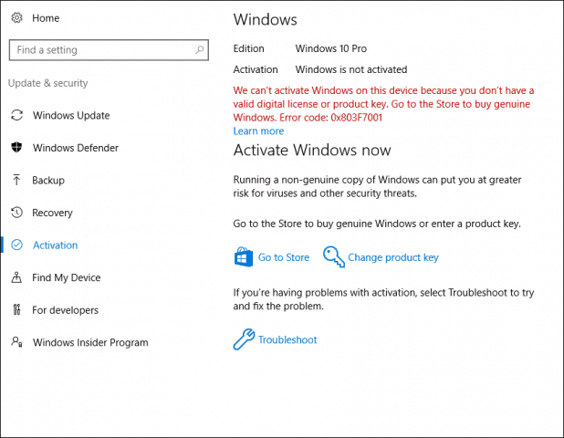Use a Digital License to Manage and Activate Windows 10 Anniversary