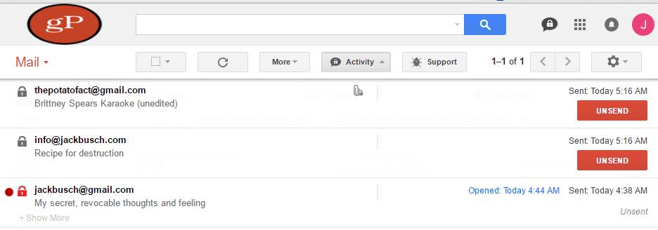 criptext activity panel