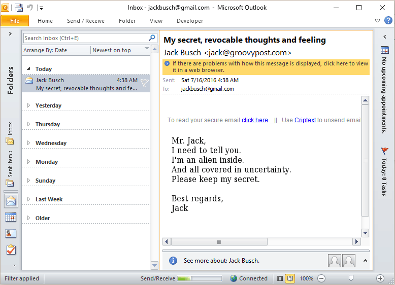 criptext in action in outlook