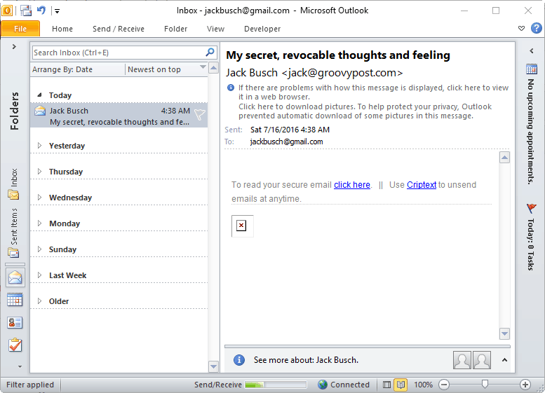 secure criptext email in outlook