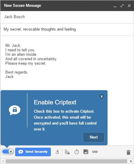 Criptext compose secure mesage