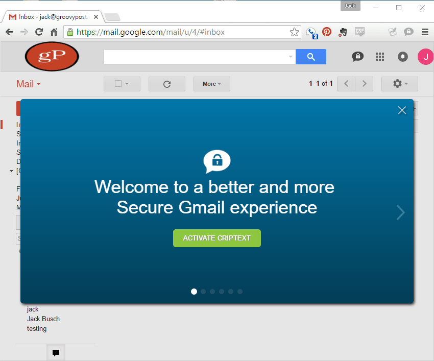 Criptext installed in gmail