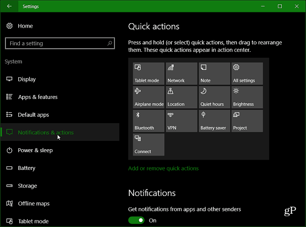 How to Arrange Action Center Quick Action Buttons