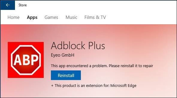 Edge reinstall extension