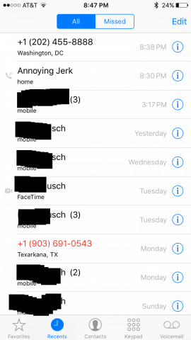 Block iPhone calls