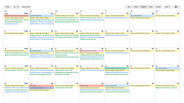 google calendar ical scheduled events organised calendars university student tidy