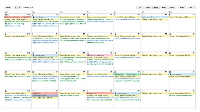 google calendar ical scheduled events organised calendars university student tidy
