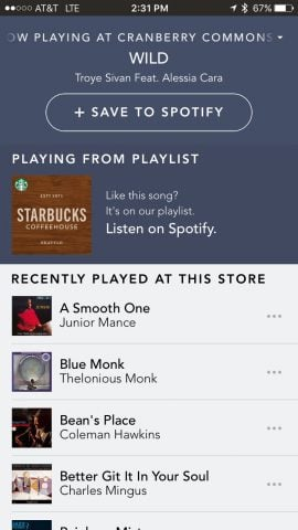 starbucks and spotify app integration