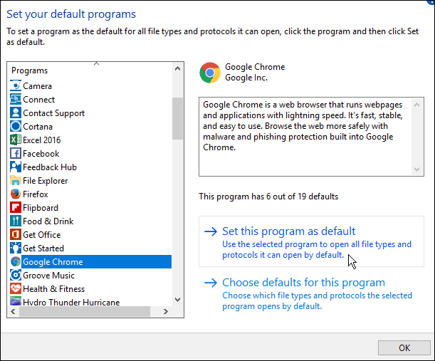 set default programs