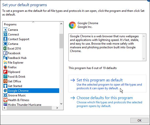 how to set program defaults in windows 7