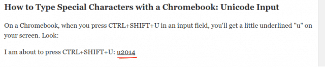 unicode chromebook special characters