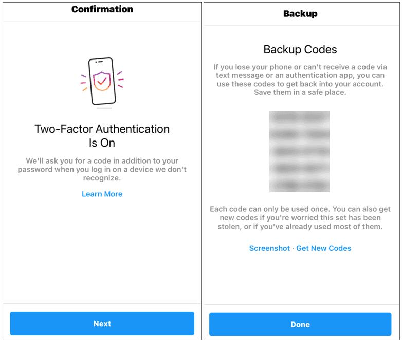 2fa confirmation backup codes