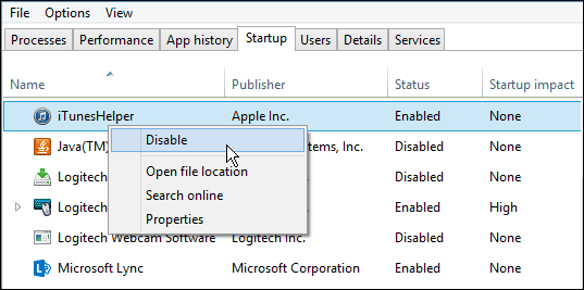 Disable Startup apps Win10