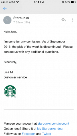 starbucks free apps discontinued