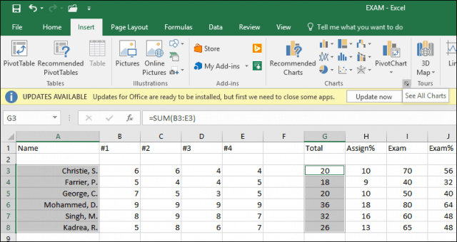 Float control on excel spreadsheet