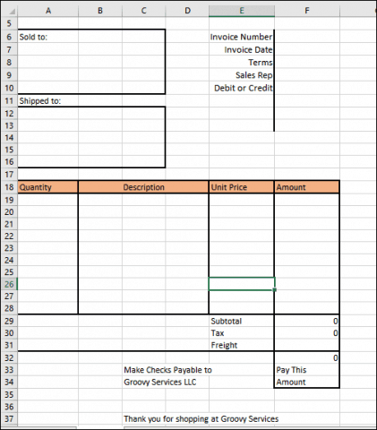 Invoice Structure 2  How To Make An Invoice On Excel