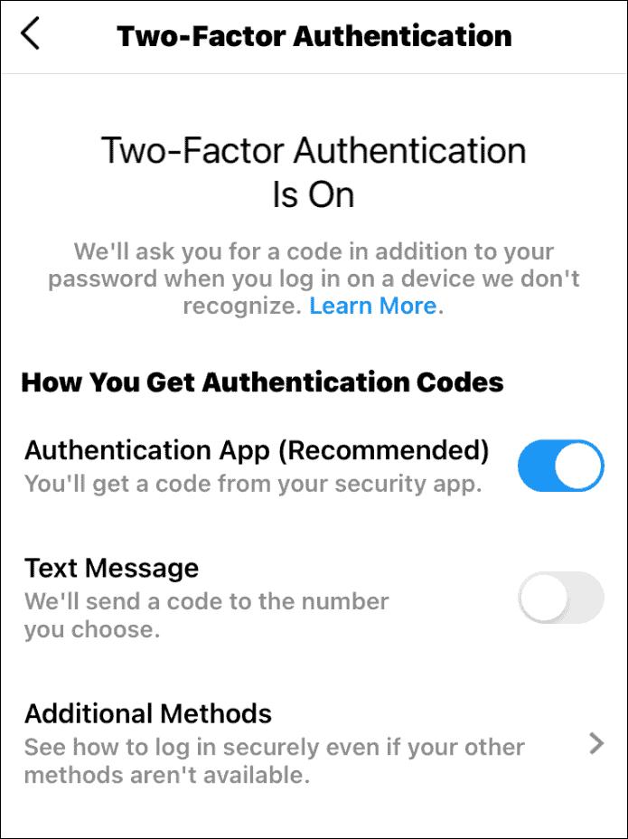 security 2fa on
