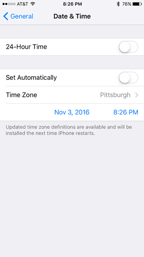 "Daylight Saving Time Ending: Enable or Prevent your iPhone from ""Falling  Back"" on Sunday, Nov. 6"