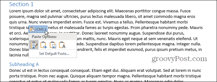 Paste Options popup box in Word