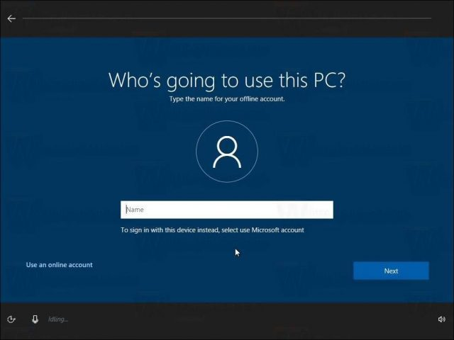OOBE Windows 10 Creators Update 1703