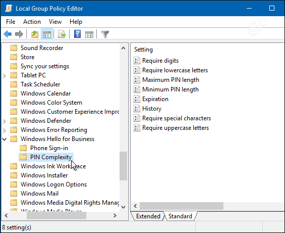 computer configuration administrative templates - how to create a complex windows 10 pin