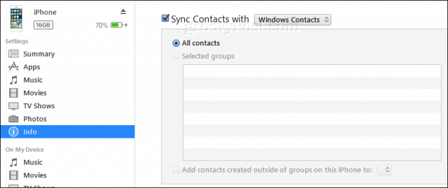 sync iphone contacts to windows contacts using itunes