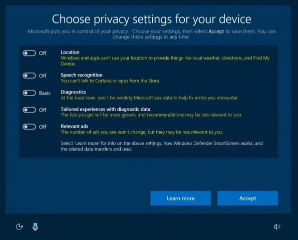 Windows 10, Privacy, Creators Update, OOBE
