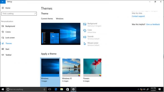 Themes, Windows 10 Creators Update, Personalization, Control Panel