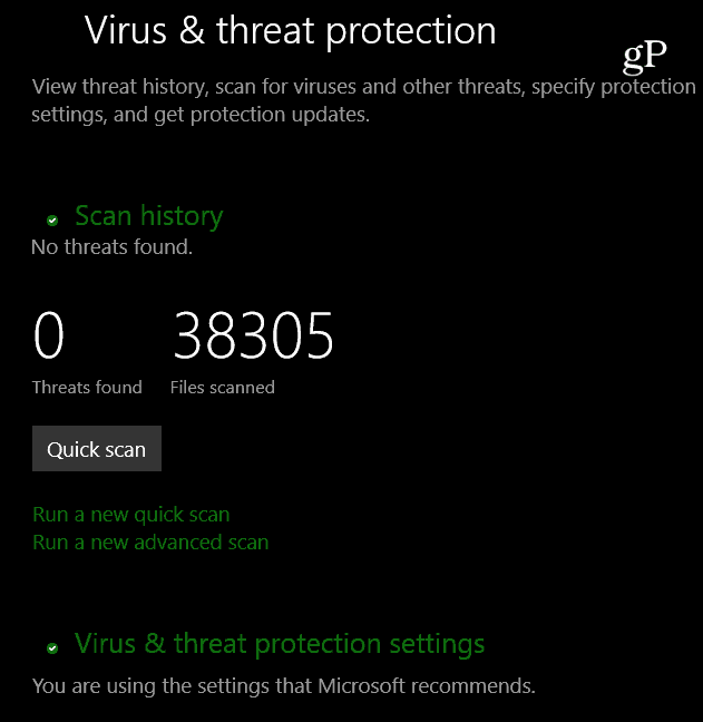 virus and threat protection