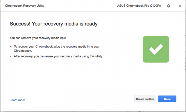 chromebook recovery utility success macos