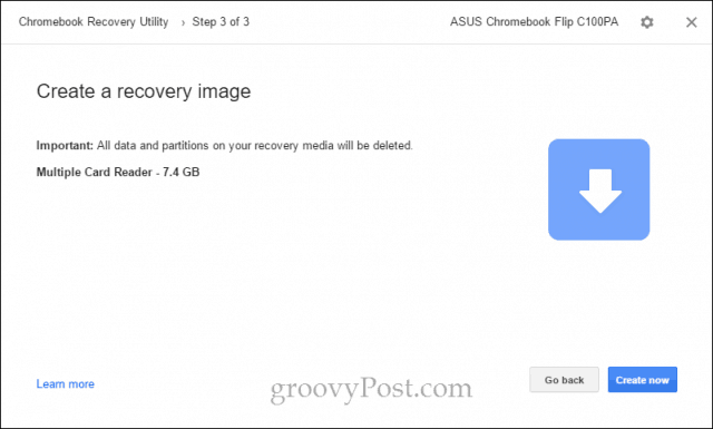 create a chromebook recovery image