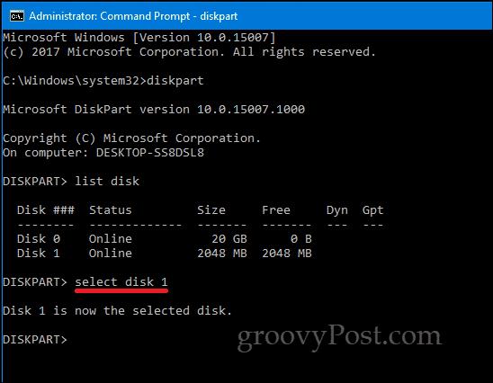 DiskPart Windows 10 command line