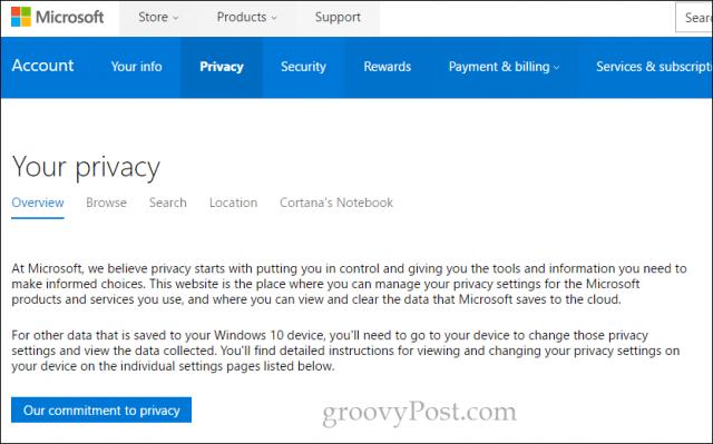 ms privacy dashboard 2