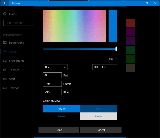 windows 10 creators update personlize colors